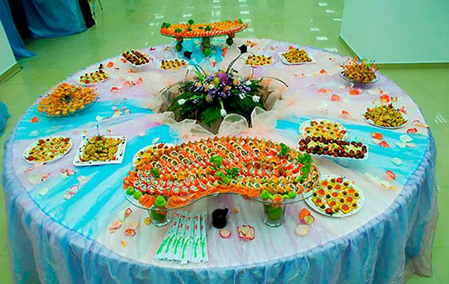 Фуршетный стол закуски и оформление